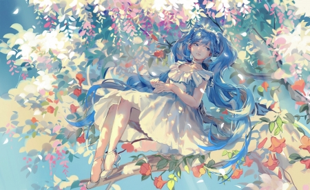 ~Beautiful Spring~ - vocaloid, dress, hatsune miku, anime, flowers, spring