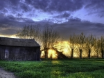 barn at sunset hdr