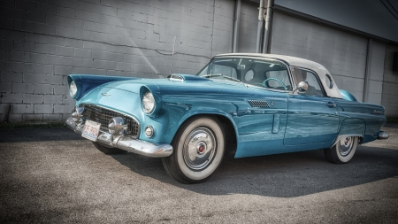 classic 1956 ford thunderbird hdr - coupe, wet, car, hdr, classic, blue