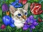 Cat in Flowers