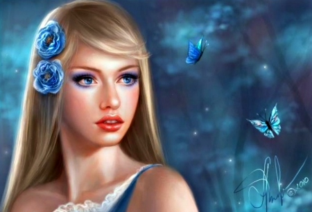 Night flower - art, luminos, blonde, night flower, woman, selenada, fantasy, butterfly, girl, blue