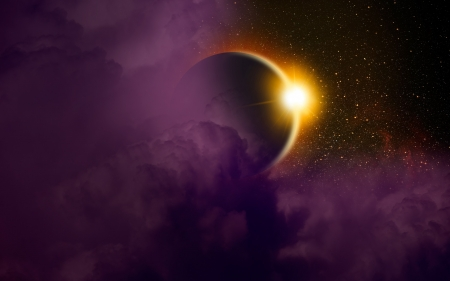 Solar eclipse - sun, purple, planet, space, yellow, solar eclipse, pink