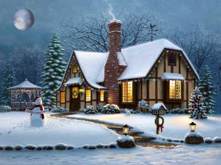 Another Christmas - pretty, Homes, warm, house, christmas, snowman, winter, Cozy, moon, snow, Lights, gazebo