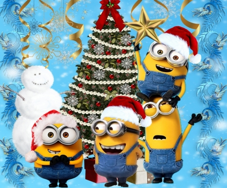 Minions Christmas.Minions Christmas Tree Movies Entertainment Background