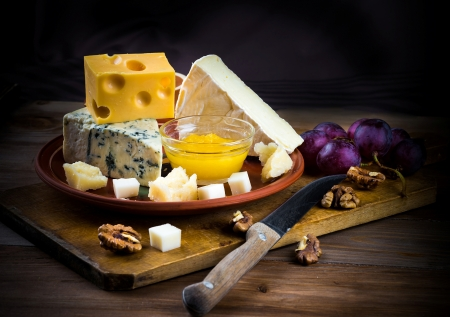 Cheese - fruit, walnuts, still life, honey, food, cheese, plums