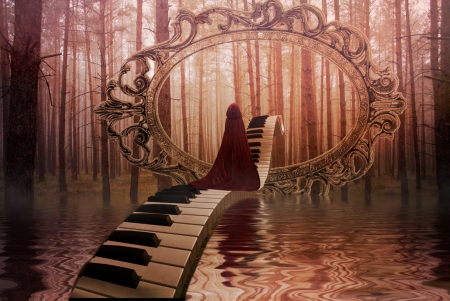 Fantasy Land - art, woman, piano, manipulation