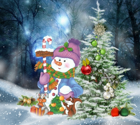 winter - snowman, snow, xmas, winter