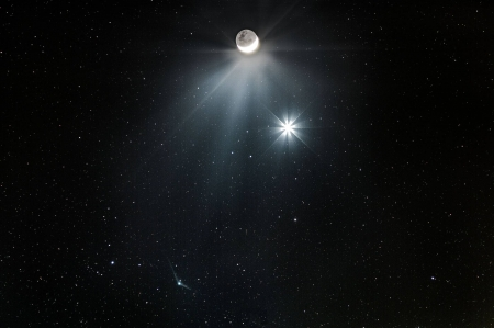 Comet Meets Moon and Morning Star