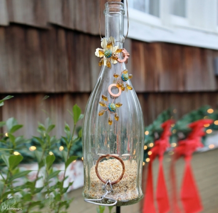 *Festive bird feeders* - holidays, christmas, bottle, feeders, winter, glass, bird, birdfeeders, outdoor