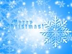 blue sparkling snowflakes on christmas