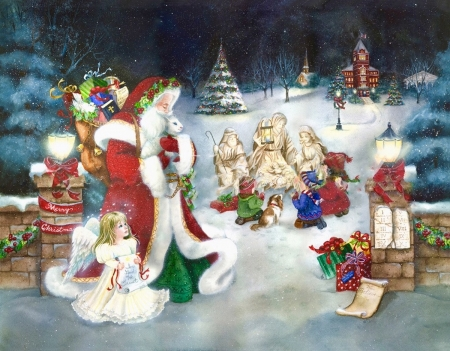 Welcoming The Little Lamb - nativity, christmas, colors, Santa, winter, Angels, snow, painting, presents, Lamb