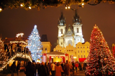 christmas market in prague other amp abstract background