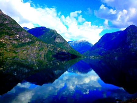 Blue Fjord - Landscape, Fjord, Mountain, Blue, Nature