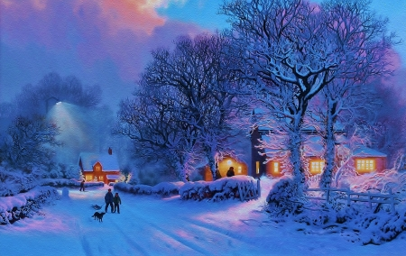Winter wallpaper - snow, painting, charm, nature, evening, white, winter