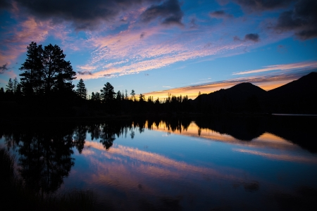 Glassy Sunset - nature, sunset, glassy, reflection, trees, clouds
