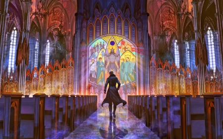 Alternity - fantasy, stained glass, color, magic, church