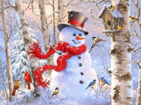 Image result for snowman with birds