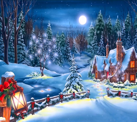 Winter Wonderland - stars, lantern, cottage, christmas, bow, winter, tree, moon, snow, night