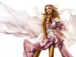 Blonde in pink dress