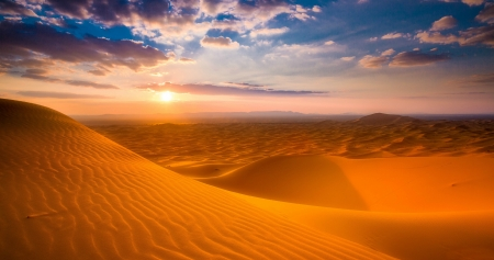 Sunset on the Sahara Desert, Merzouga, Morocco - desert, morocco, nature, sunset