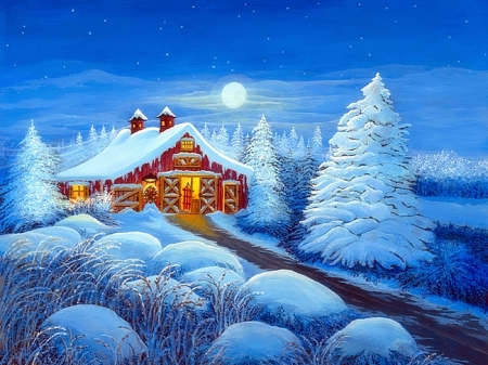 Winter Wonderland - moons, cottages, holidays, New Year, love four seasons, attractions in dreams, christmas trees, xmas and new year, winter, snow