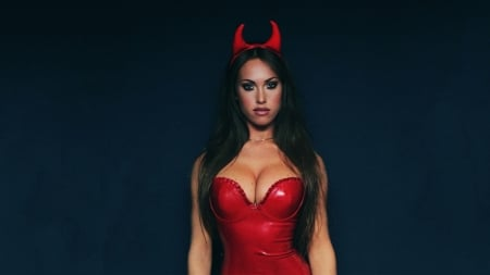 Red devil - sensual, red, babe, lingerie, hot, glamour, devil, sexy