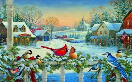 Town meeting - fence, art, house, christmas, holiday, meet, birds, winter, cardinals, gathering, snow, peaceful, village, frost