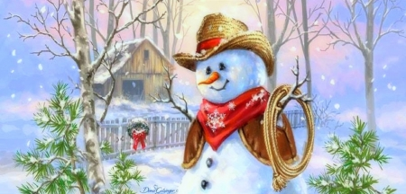 Cowboy Snowman - Christmas, snowmen, holidays, New Year, love four seasons, attractions in dreams, snowman, xmas and new year, winter, paintings, snow
