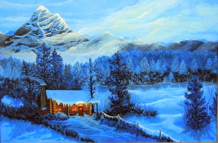Cozy Cabin - holidays, love four seasons, moutains, attractions in dreams, christmas trees, xmas and new year, winter, paintings, snow, nature, cabins
