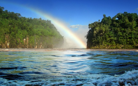 Nice Rainbow - forest, rainbow, skies, water, nature, trees