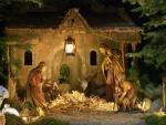 carved nativity scene for Xmas