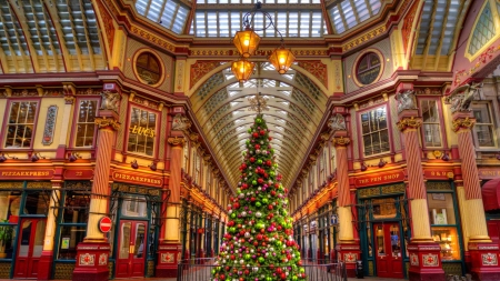 Leadenhall market, London - London, christmas, holiday, decoration, beautiful, mood, market, lights, winter, tree, city