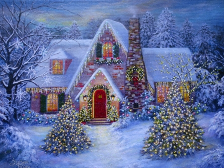 Merry christmas - colorful, lovely, cottage, december, beautiful, xmas, winter, greetings, tree, merry christmas, splendor, peaceful, color, light