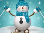 Happy snowman with the skis