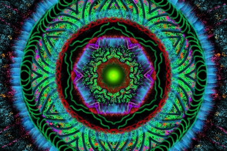 Illumination 2 - Mandala, psychedelic, green, abstract, blue