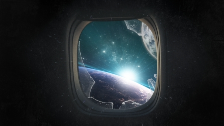 Lost in Space - Glass, Broken, Space, Decompression, Sun, Window, Planet, Stars