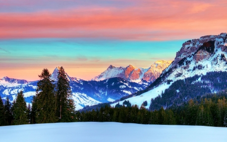 Swiss Alps In Winter Winter Nature Background Wallpapers