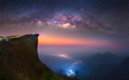 Lights On The Valley - Thailand, beautiful, sunset, galaxy, mist, sea, valley, Milky Way, mountain, city, cliff, long exposure, evening, starry sky