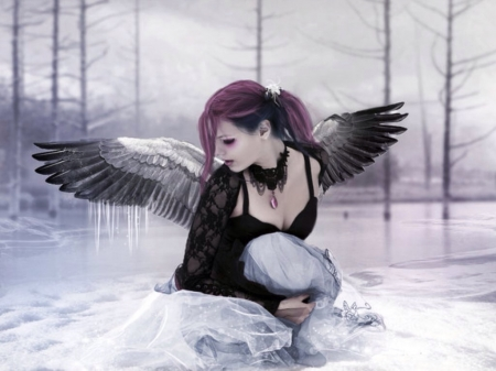 Cold Angel - wings, gothic, angel, dark, icicles, winged, trees, winter