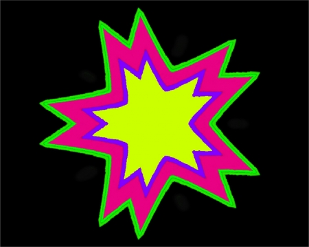 Neon Star Baby - violette, labrano, black, yellow, abstract, lime, gizzzi, green, purple, neon, pink, star