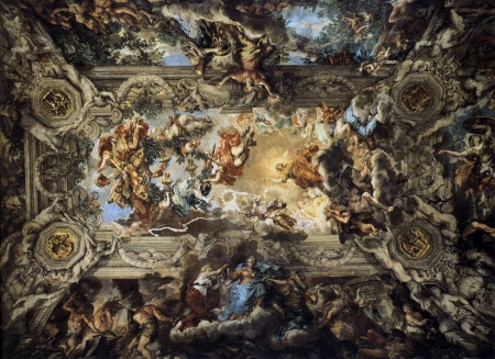 Allegory of Divine Providence and Barberini Power - art, rome, divine, fresco, berberini, triumph
