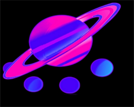 Saturn - violette, labrano, black, abstract, gizzzi, purple, planet, neon, pink, blue, saturn
