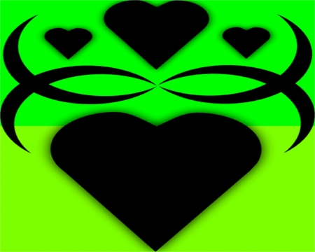 Bright Green Black Hearts - black hearts, labrano, black, hearts, lime, gizzzi, green, tribal, bright, bright green