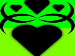 Bright Green Black Hearts