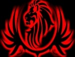 Black Large Lion Red