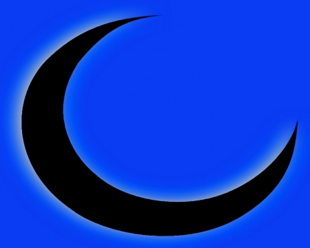 Black Cresent Moon Blue - gizzzi, moon, space, black, labrano, cresent, neon, blue