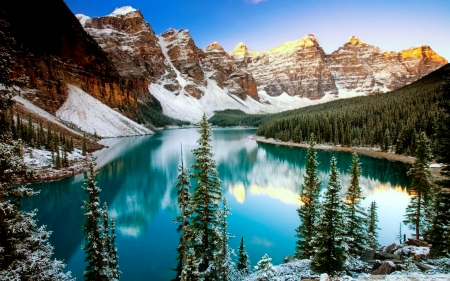 Moraine lake in winter - hills, beautiful, trees, lake, winter, mountain, serenity, moraine, snow, mirror, reflection, landscape
