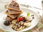 Banana Waffles with Chocolate