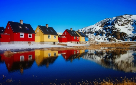 Greenland - north, camping, beautiful, lake, winter, mountain, snow, greenland, reflections, cabins
