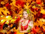 Girl and Fall Leaves